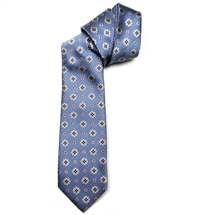 Blue, Brown and Pale Silver Floral Woven Silk Tie by Robert Jensen