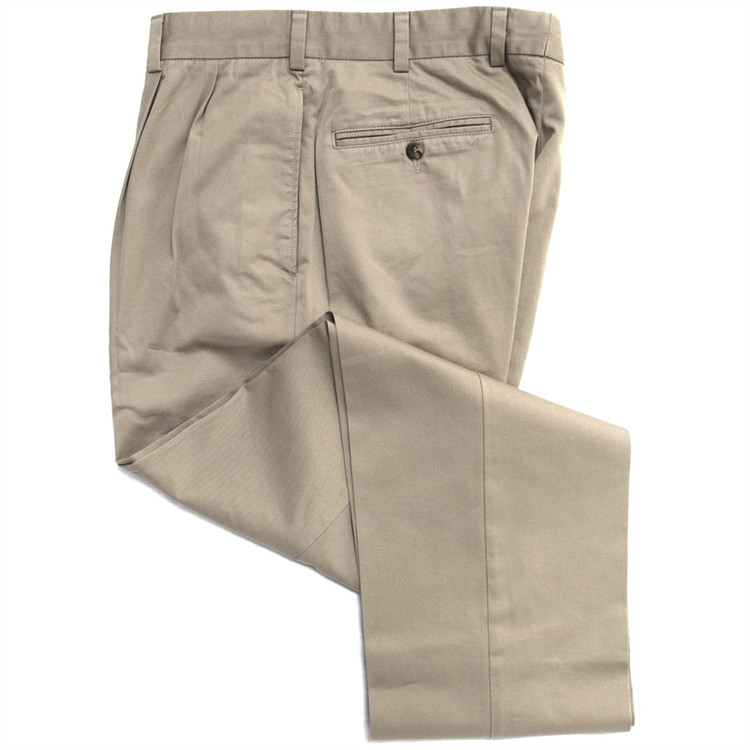 Vintage Twill Pant - Model F2P Standard Fit Reverse Pleat in Khaki (Size 39 Only) by Hansen's Khakis