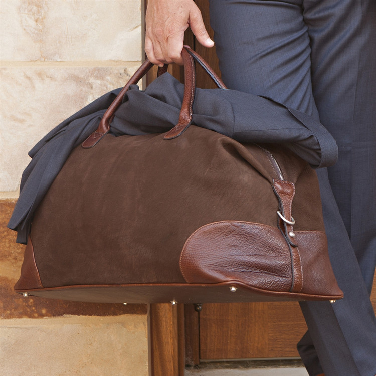 Benedict Weekend Bag in Nubuck Bison Chocolate by Moore & Giles