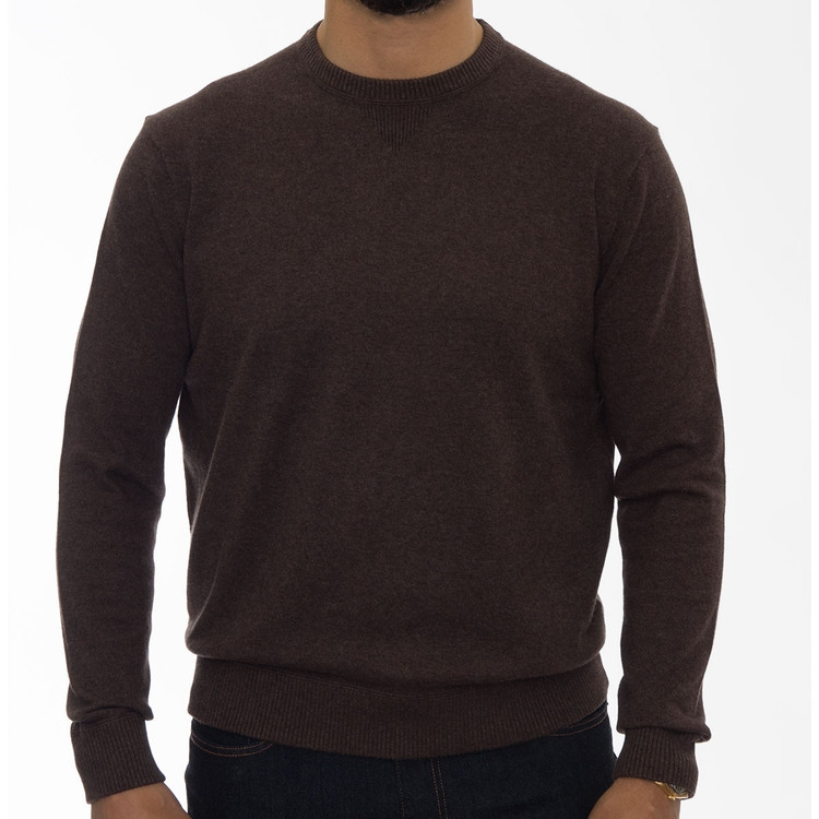 'Williams' Performance Cotton Cashmere Crewneck Sweater in Coffee by Robert Talbott