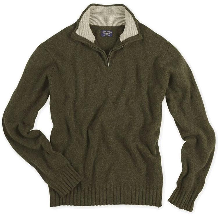 Merino Quarter-Zip Mock Sweater in Chestnut (Size Large) by Bills Khakis