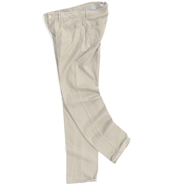 Roberson Five-Pocket Washed Twill Pant in Stone (Size 44 Only) by Peter Millar