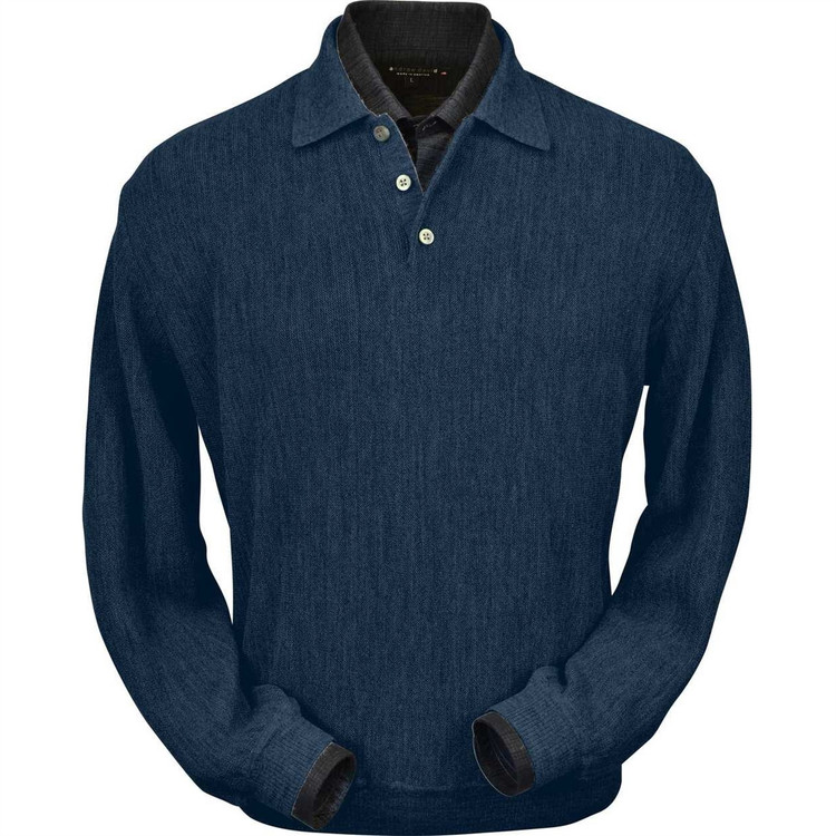 Baby Alpaca Link Stitch Polo Sweater with Ribbed Bottom in Denim Heather by Peru Unlimited