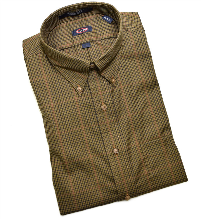 Olive, Saddle, and Navy Check Button-Down Wrinkle Free Sport Shirt (Size Medium) by Overton