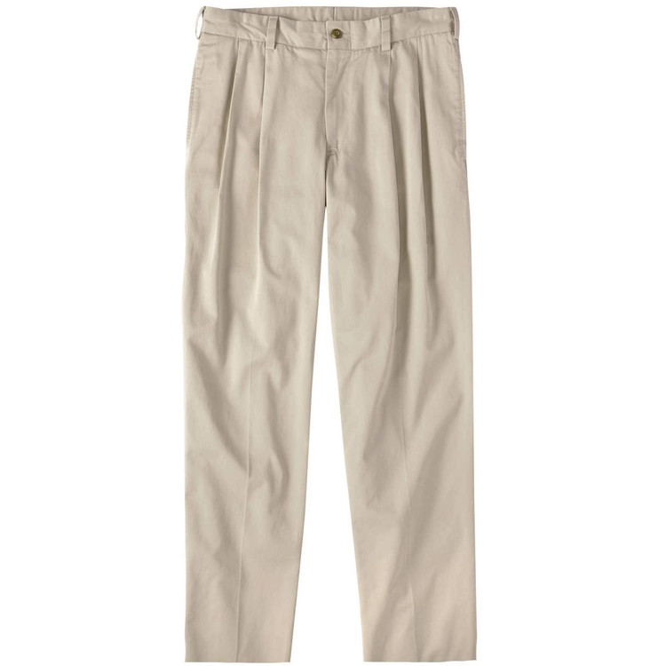 Chamois Cloth Pant - Model M2P Standard Fit Reverse Pleat in Khaki by Bills Khakis