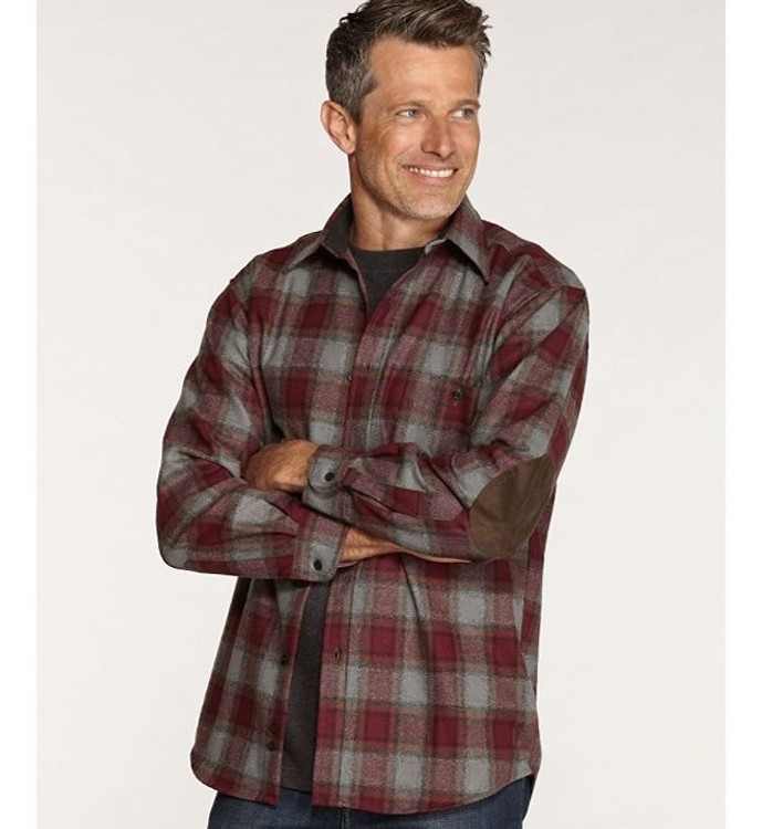 Burgundy, Grey, and Brown Check Elbow-Patch Trail Shirt by Pendleton