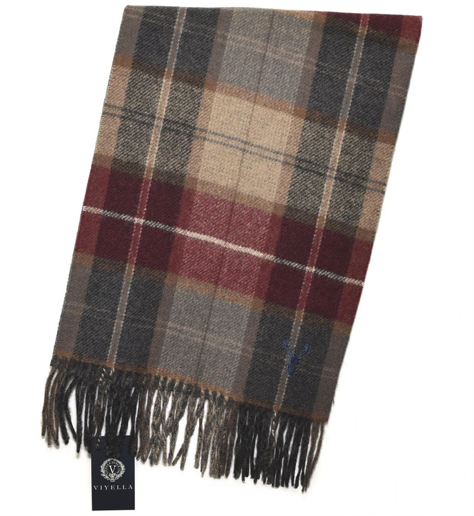 Vino and Tan Double Faced Plaid/Solid Wool and Cashmere Scarf by Viyella