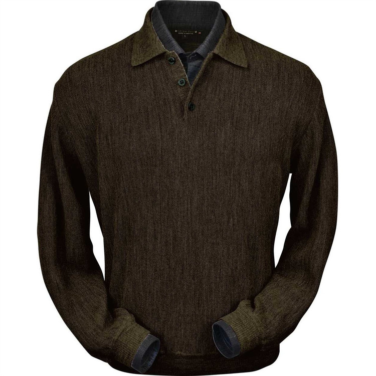 Baby Alpaca Link Stitch Polo Sweater with Ribbed Bottom in Pine Olive Heather by Peru Unlimited