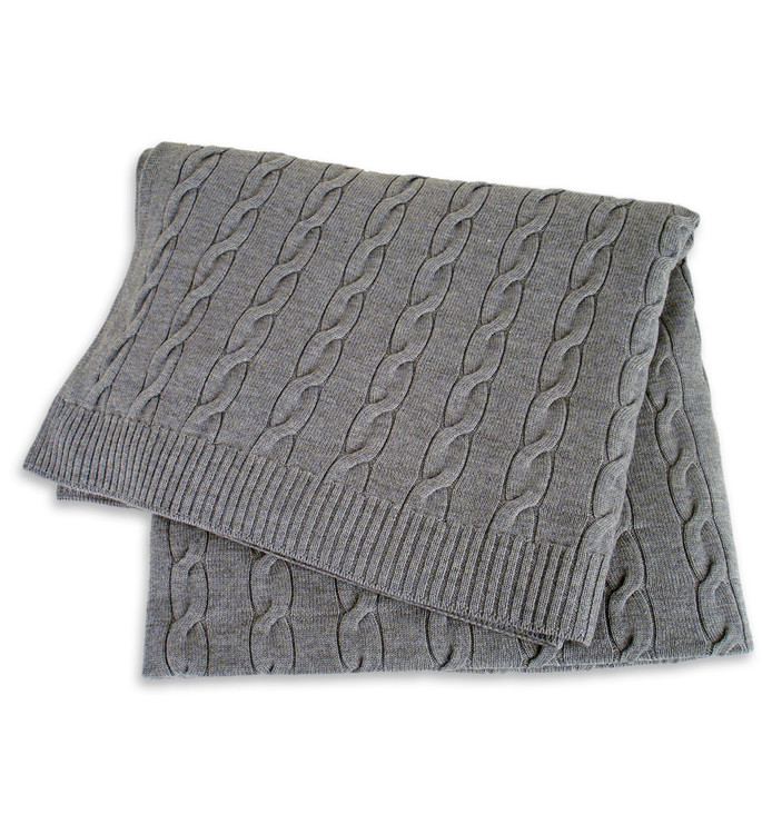 Pure Merino Wool Cable Knit Bed Throw in Pewter Marl by St. Croix