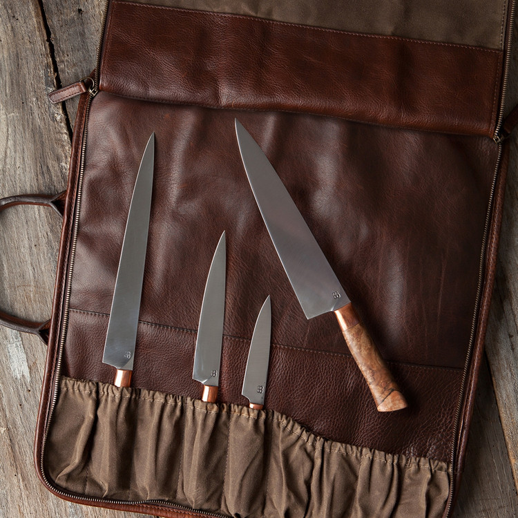 Frost Knife Carrier in Waxwear Rangertan and Titan Milled Brown by Moore & Giles