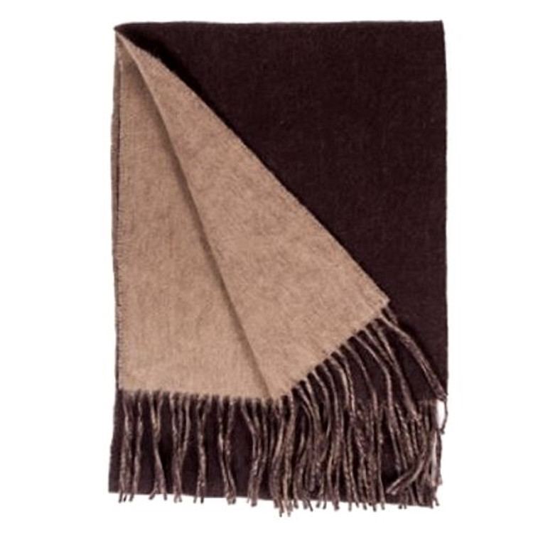 100% Cashmere Double Faced Woven Scarf in Camel/Chocolate by Alashan Cashmere