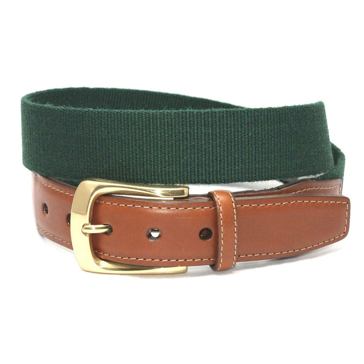 European Ribbed Surcingle Belt in Forest Green by Torino Leather Co.