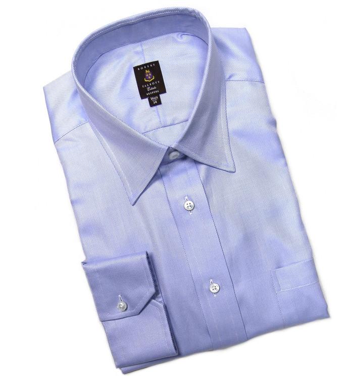 Blue and White Twill Stripe Estate Dress Shirt by Robert Talbott