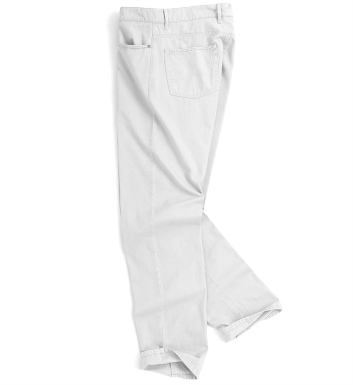 Roberson Five-Pocket Washed Twill Pant in White (Size 32 Only) by Peter Millar