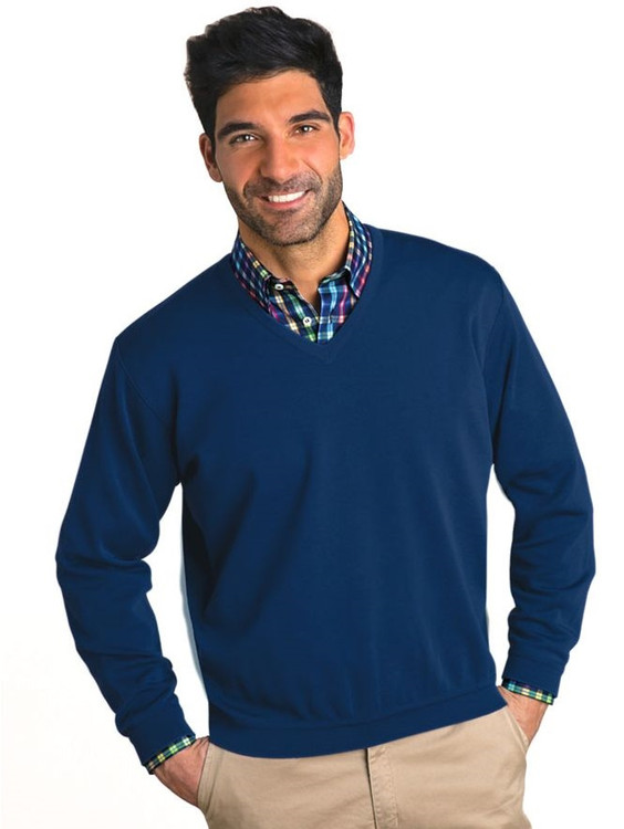 Classic Wool V-Neck Sweater in Navy by St. Croix