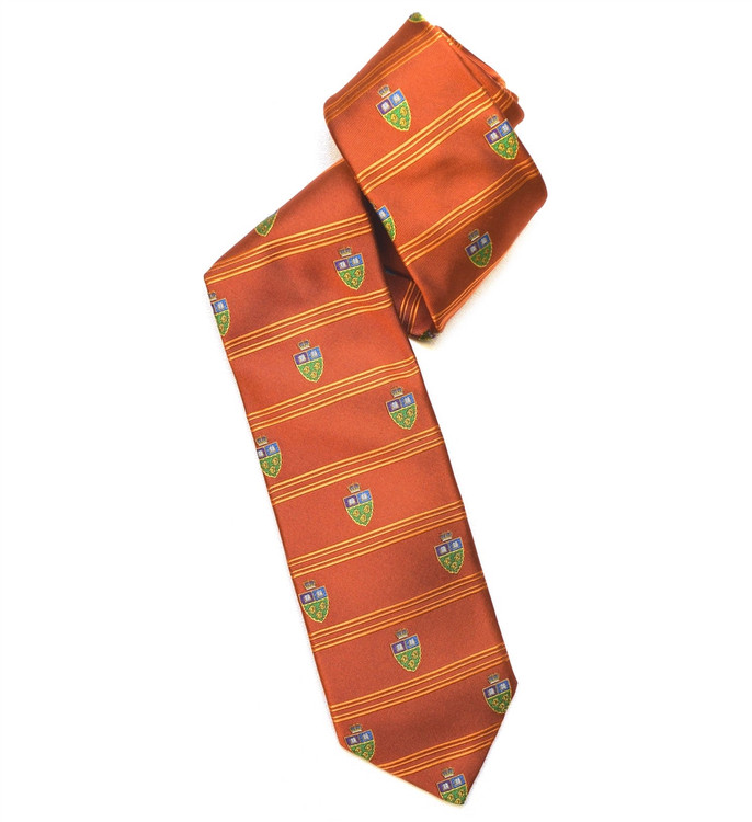 Best of Class Orange 'English Crest' Woven Silk Tie by Robert Talbott