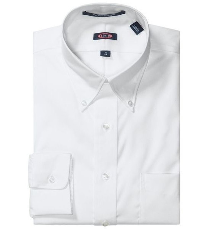 """80's 2-Ply Pinpoint Button-Down """"Road Warrior"""" Wrinkle Free Dress Shirt in White by Overton"""