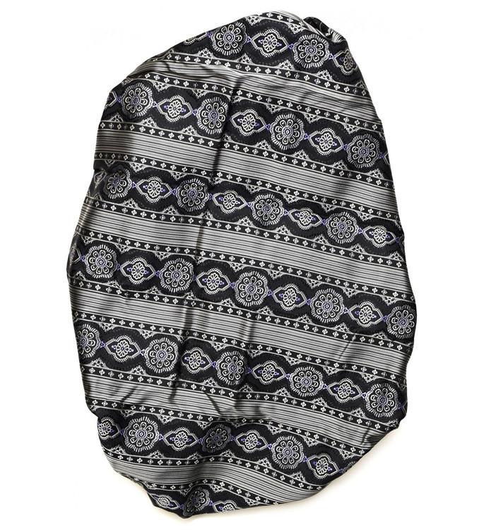 Custom Made Black, Grey, and Purple Medallion Stripe Seven Fold Tie by Robert Talbott