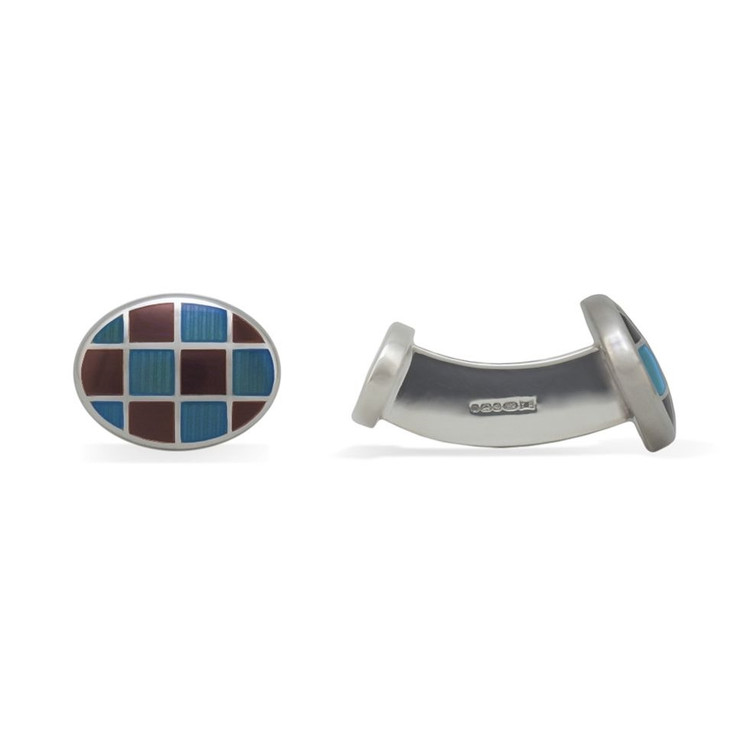 'Oval Grid' Sterling Silver Cufflinks in Brown and Light Blue by Robert Talbott