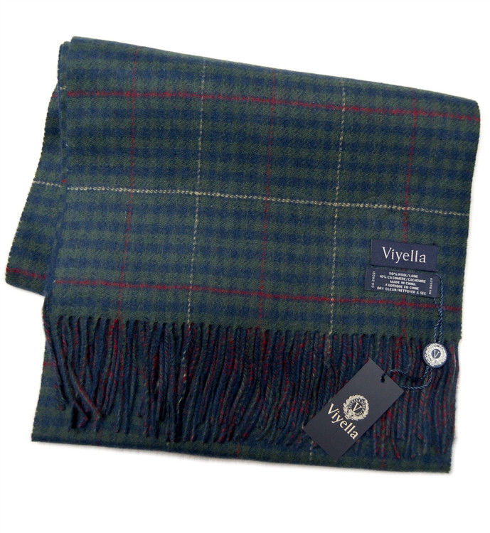 Navy and Green Plaid Wool and Cashmere Scarf by Viyella