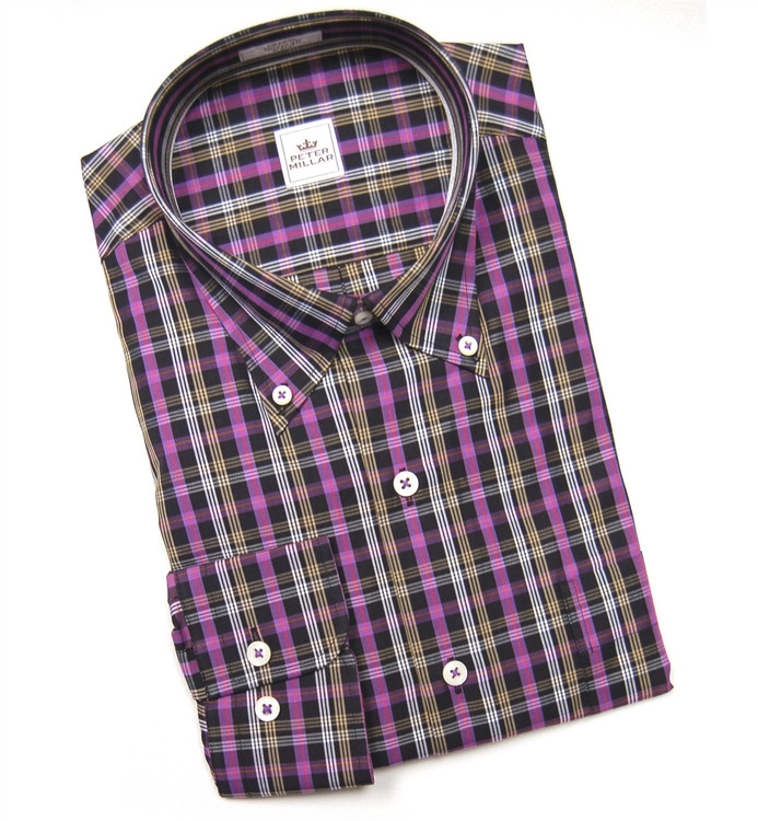 Lake Shore Plaid Sport Shirt in Black (Size Large) by Peter Millar