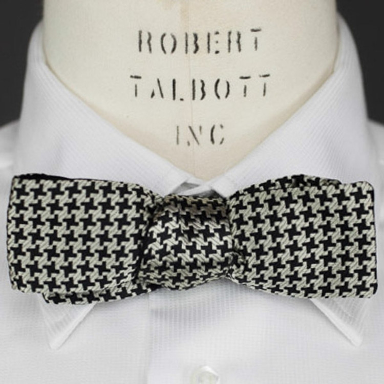Black and Ecru Houndstooth 'Robert Talbott Protocol' Bat Bow Tie by Robert Talbott