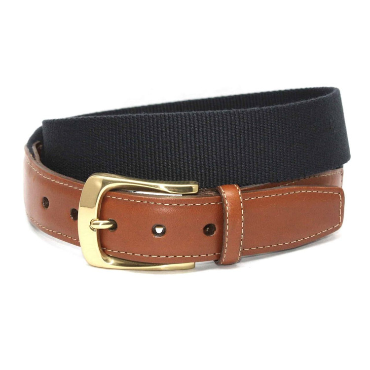 European Ribbed Surcingle Belt in Navy by Torino Leather Co.