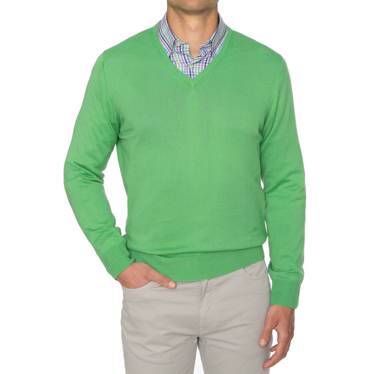 'Toyon' Jersey V-Neck Sweater in Verde by Robert Talbott