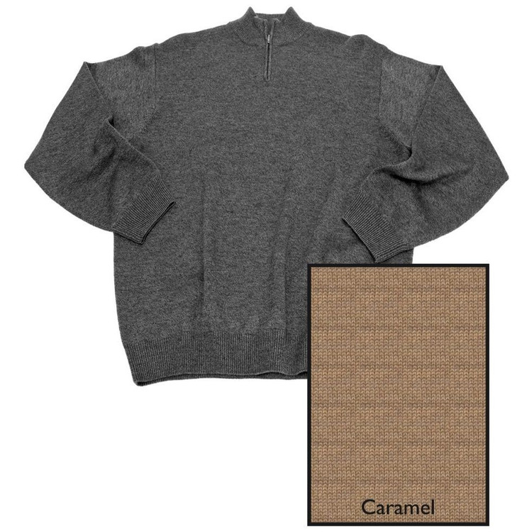 Merino Wool Quarter-Zip Mock-Neck Sweater in Caramel by Viyella