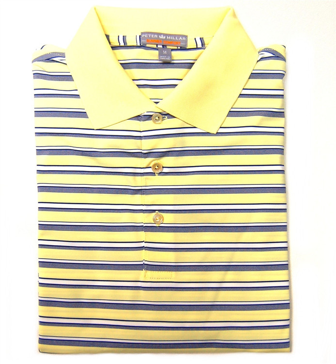 Henley Stripe E4 Summer Comfort Stretch Jersey Polo in Daylight (Size XX-Large) by Peter Millar