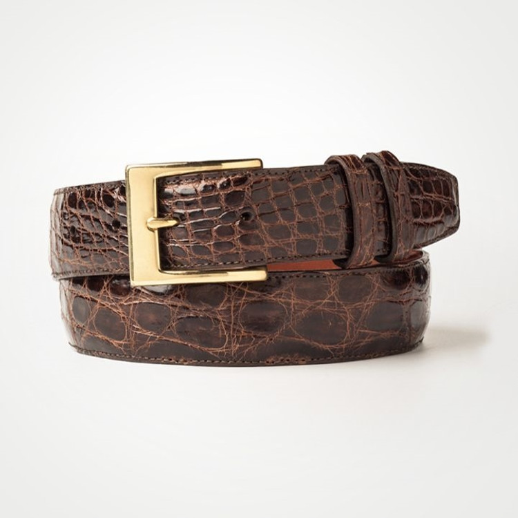Classic Crocodile Belt in Brown by Zelli Italia