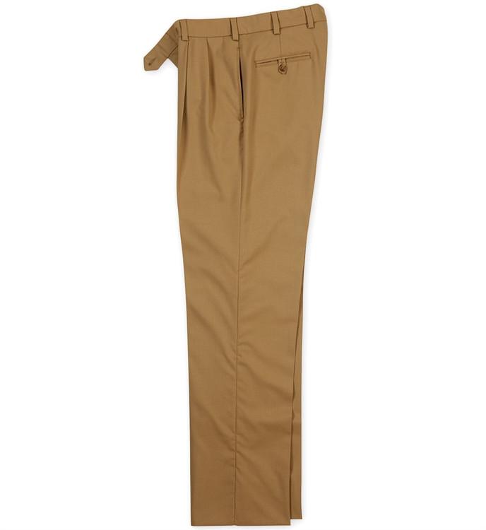 Wool Gabardine Pant - Model M2P Standard Fit Reverse Pleat in British Khaki by Bills Khakis