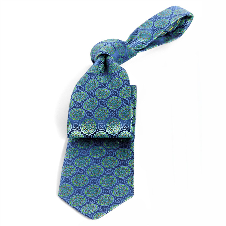 Blue and Green Medallion 'Connoisseur' Silk Estate Tie by Robert Talbott