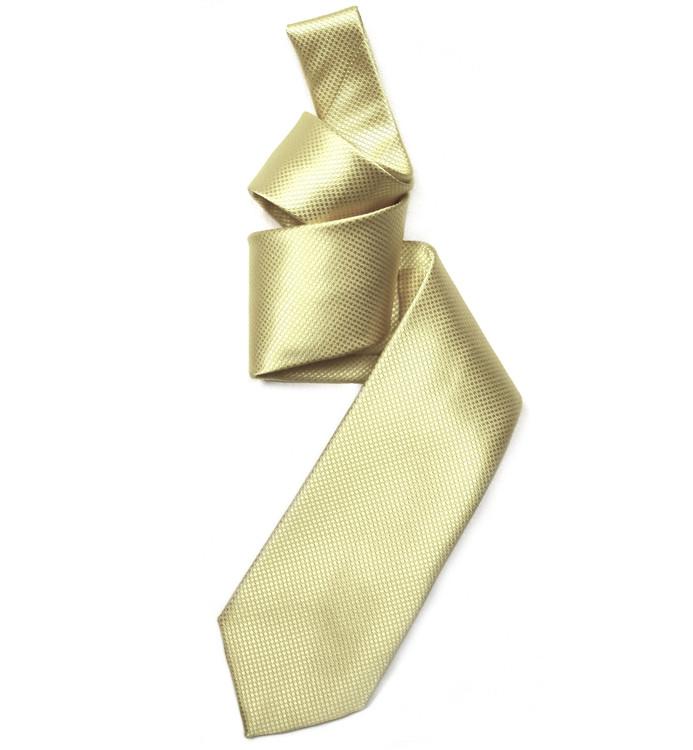 Cream Solid Dobby Woven Silk Tie by Robert Jensen
