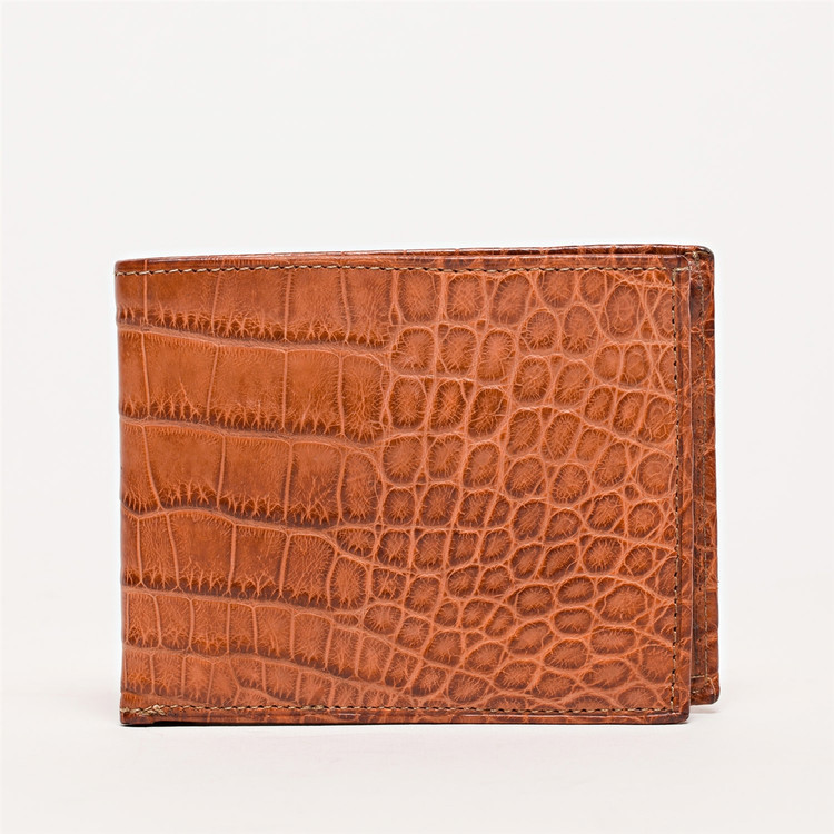 Bi-Fold Wallet in Tan Alligator by Moore & Giles