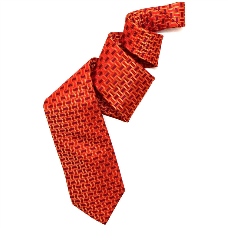 Best of Class Red and Orange 'Geometric' Woven Silk Tie by Robert Talbott