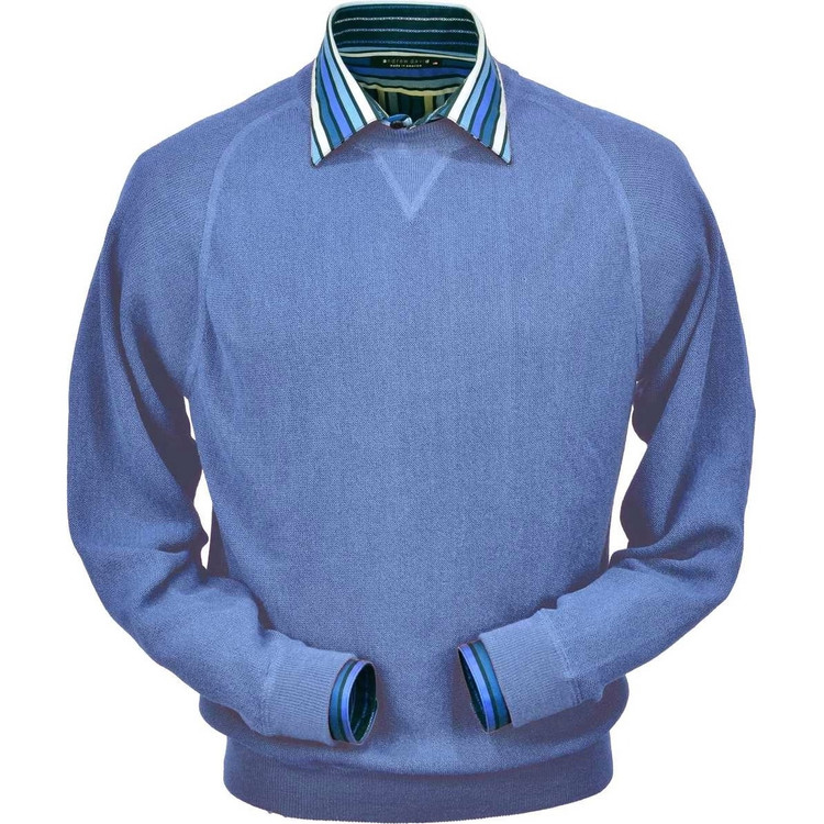 Baby Alpaca Link Stitch Sweatshirt Style Sweater in Atlantic Blue by Peru Unlimited