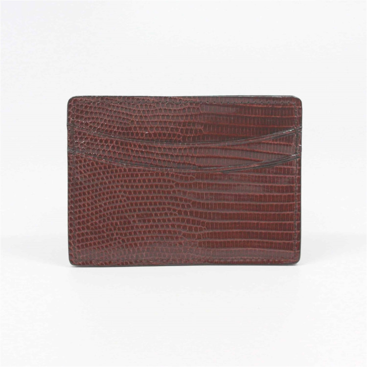 Genuine Lizard Card Case in Cognac by Torino Leather Co.