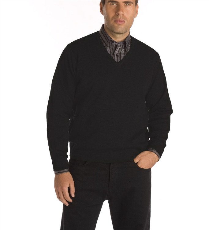 Classic Wool V-Neck Sweater in Black by St. Croix