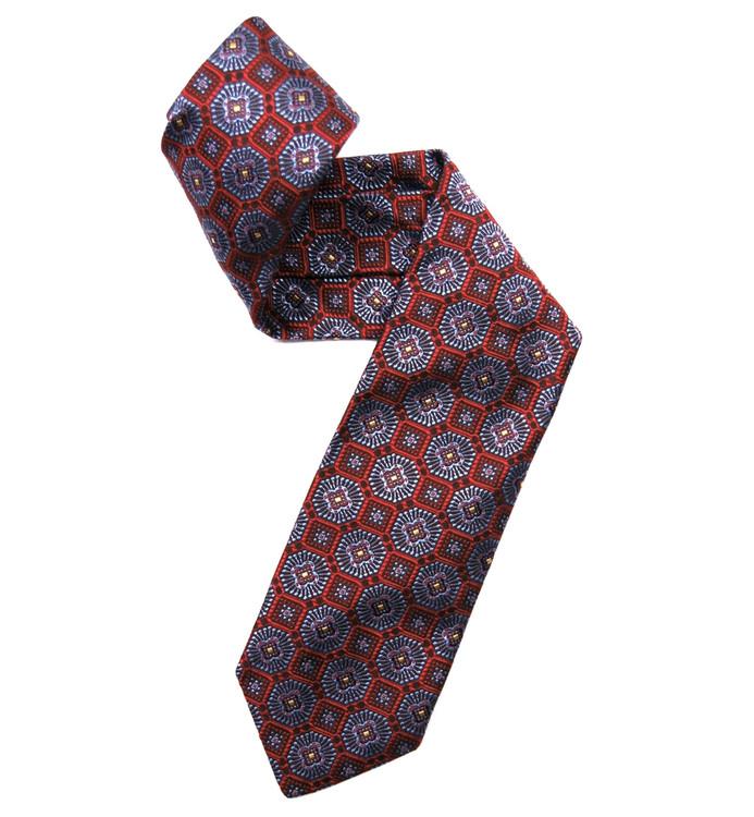 Best of Class Red and Blue Medallion Woven Silk Tie by Robert Talbott