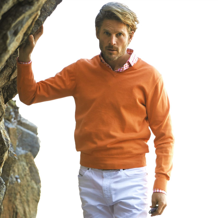 'Toyon' Jersey V-Neck Sweater in Tangerine by Robert Talbott