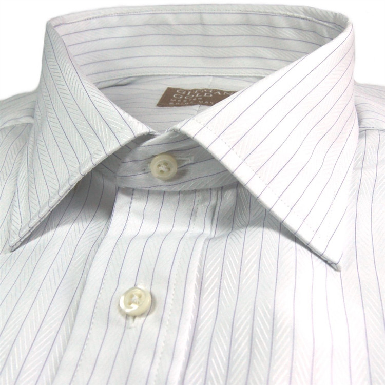 'Gitman Gold' White and Lavender Herringbone Stripe Dress Shirt by Gitman Brothers