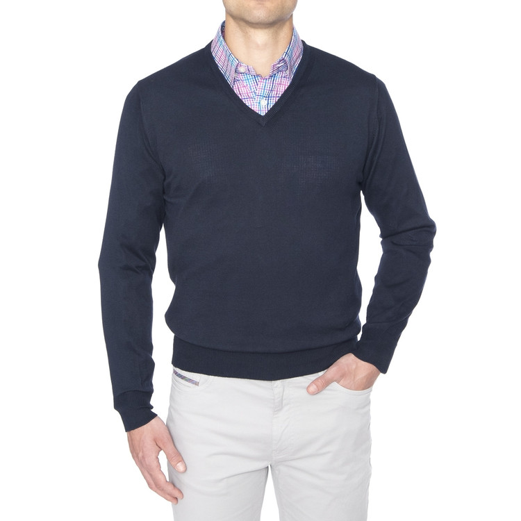 'Toyon' Jersey V-Neck Sweater in Navy by Robert Talbott