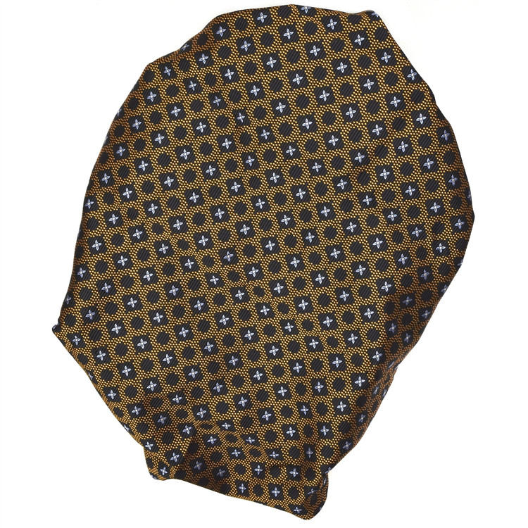 Custom Made Black, Bronze, and Blue Geometric Floral Seven Fold Tie by Robert Talbott
