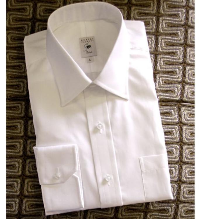White Herringbone Satin Jacquard Estate Dress Shirt by Robert Talbott