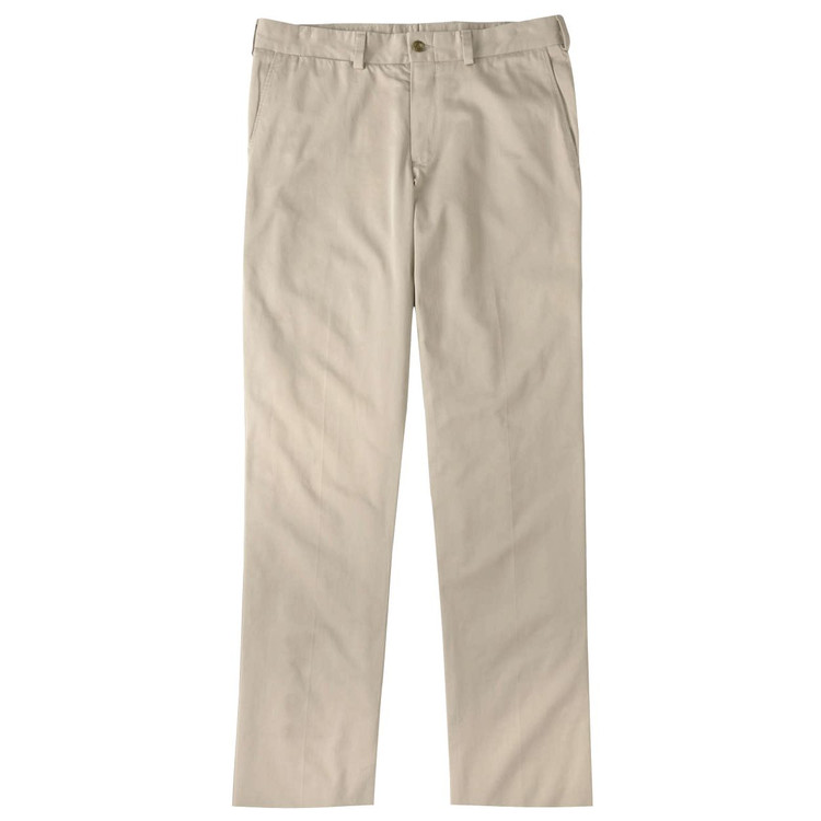 Chamois Cloth Pant - Model M3 Trim Fit Plain Front in Khaki by Bills Khakis
