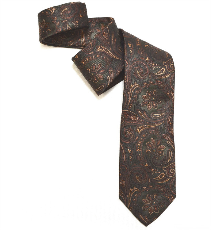 Hunter, Brown, and Bronze Paisley Woven Silk Tie by Robert Jensen