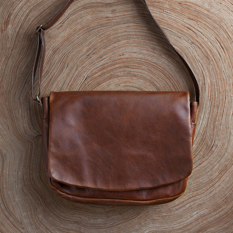 Sackett Messenger Bag in Titan Milled Honey by Moore & Giles