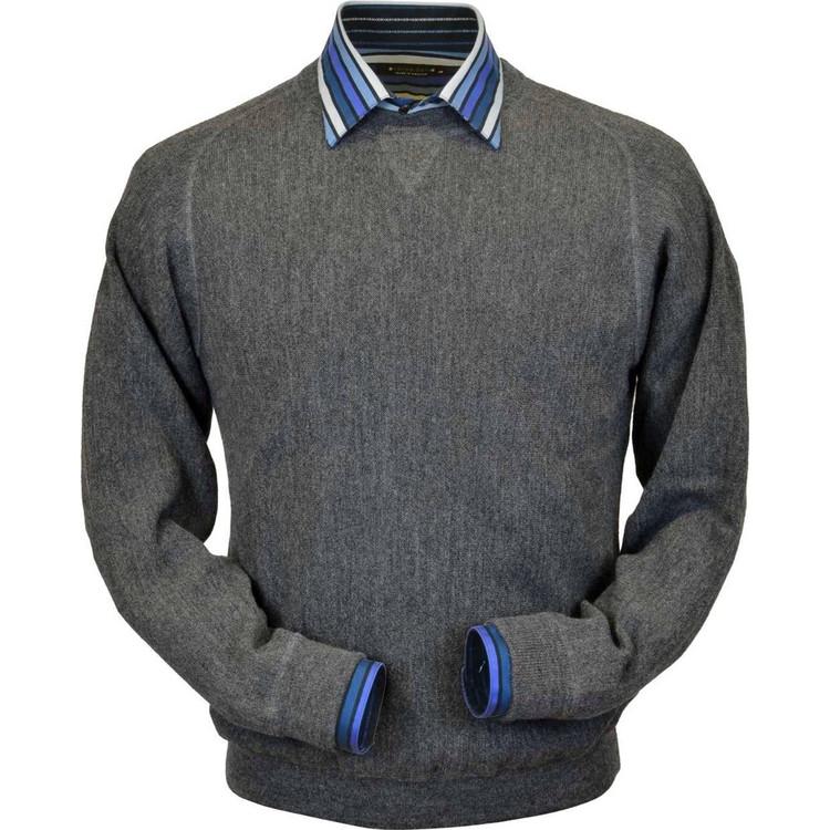 Baby Alpaca Link Stitch Sweatshirt Style Sweater in Medium Grey Heather by Peru Unlimited
