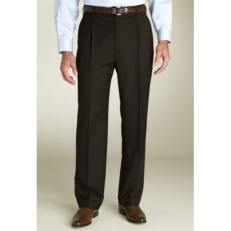 'Bennett' Double Reverse Pleat Super 120's Wool Serge Pant in Brown by Zanella